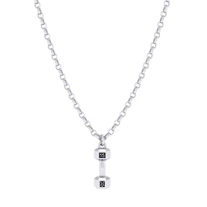 Sterling Silver 15kg Dumbbell Pendant on chain