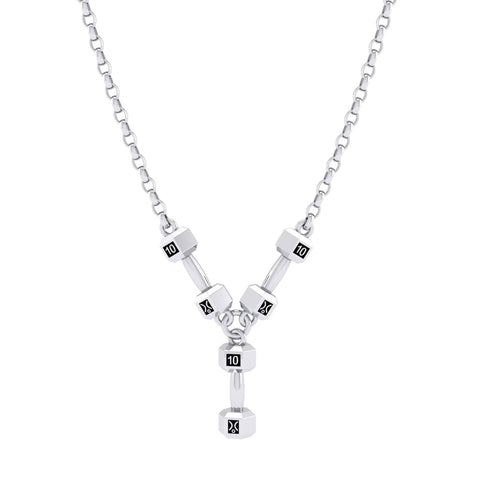 Stg Silver 10kg Triple Dumbell Pendant on chain
