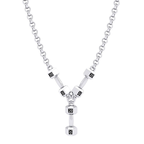 Stg Silver 20kg Triple Dumbell Pendant on chain