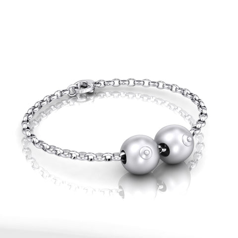 Sterling Silver Double Boob Bead on Belcher Bracelet