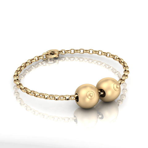 9ct Gold Double Boob Bead on Belcher Bracelet