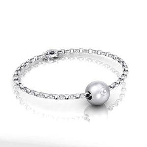 Sterling Silver Single Boob Bead on Belcher Bracelet
