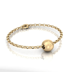 9ct Gold Single Boob Bead on Belcher Bracelet