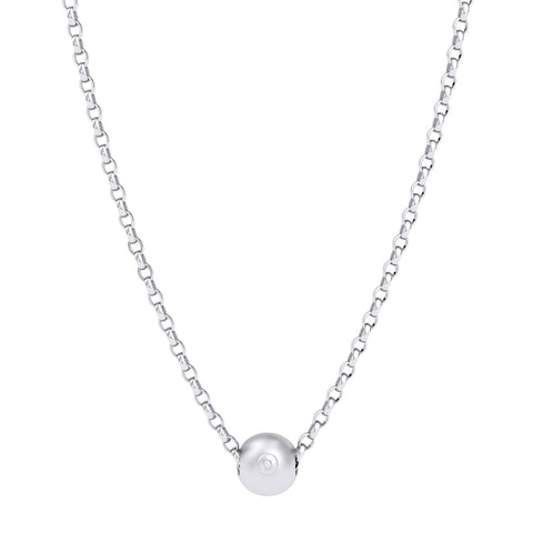 Sterling Silver Boob Charm Bead Pendant - 45cm chain