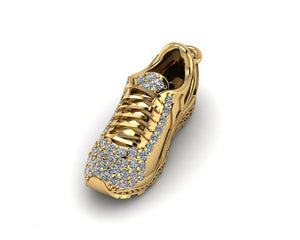 9ct Gold Diamond Set Running Shoe pendant/charm