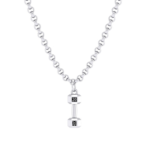 Sterling Silver 20Kg Dumbbell Pendant on chain