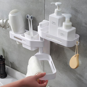 3 Layer Adhesive Bathroom Shelf, Rotating Wall Mounted No Drilling Floating Shelves Corner Suction Shower,Shampoo Shower Caddy Rack, Hair Dryer,Toilet Makeup Sink Organizer