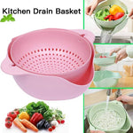 Double-layered fruit and vegetable cleaning drain basket