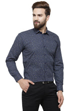 Load image into Gallery viewer, Jainish Men Navy-Blue Classic Fit Printed Formal Shirt