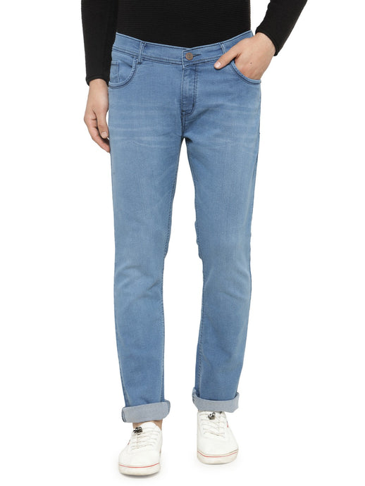 Men Light Blue Slim Fit Low-Rise Clean Look Low Fade Stretchable Jeans
