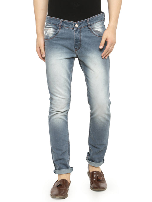 Men Blue Slim Fit Low-Rise Clean Look Faded Stretchable Jeans