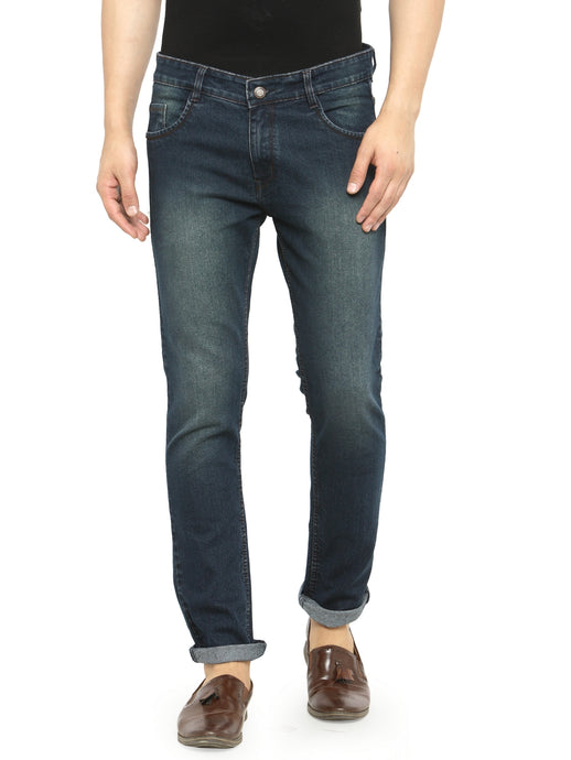 Men Dark-Blue Slim Fit Low-Rise Clean Look Faded Stretchable Jeans