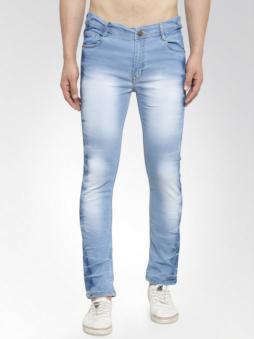Men Light Blue Slim Fit Low-Rise Clean Look Faded Stretchable Jeans