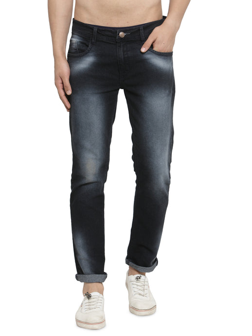 Men Black Slim Fit Low-Rise Clean Look Faded Stretchable Jeans