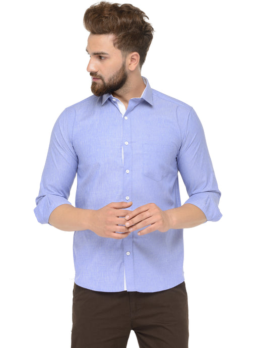 Jainish Men Blue Classic Fit Shirt with White Placket Detailing