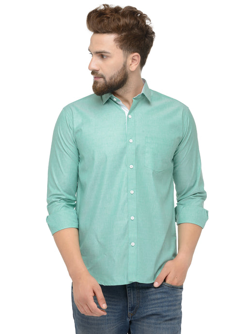 Jainish Men Green Classic Fit Shirt with White Placket Detailing
