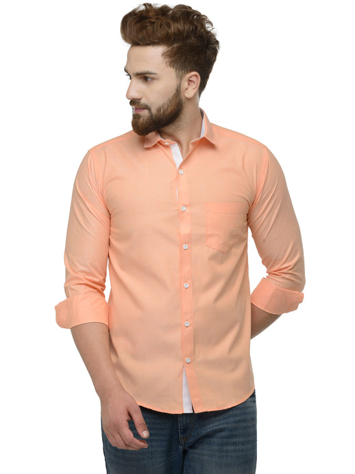 Jainish Men Orange Classic Fit Shirt with White Placket Detailing