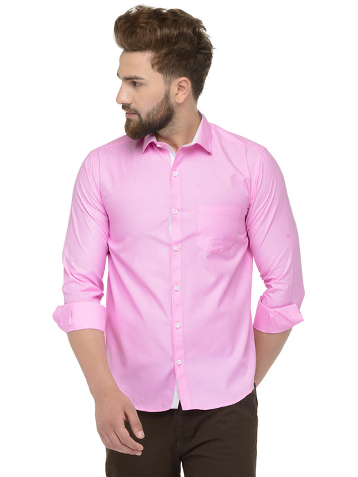 Jainish Men Pink Classic Fit Shirt with White Placket Detailing