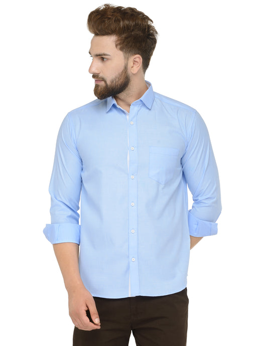 Jainish Men Sky-Blue Classic Fit Shirt with White Placket Detailing