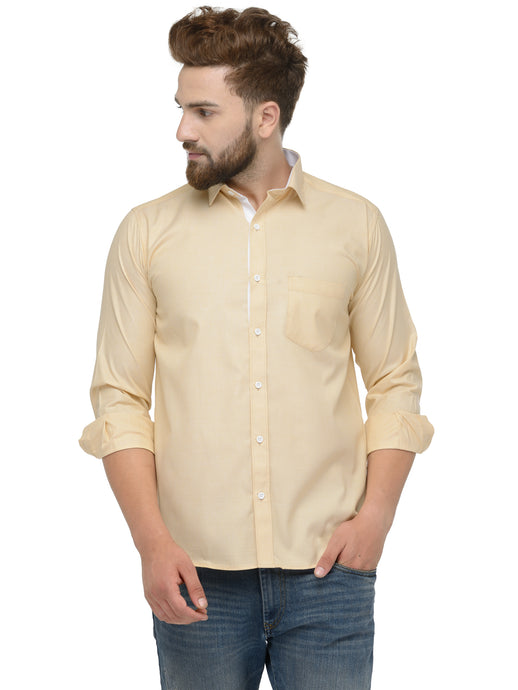 Jainish Men Yellow Classic Fit Shirt with White Placket Detailing
