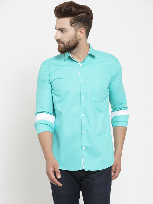 Jainish Men Aqua Blue Classic Fit Casual Shirt with White Detailing