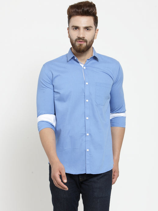 Jainish Men Light Blue Classic Fit Casual Shirt with White Detailing