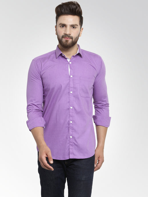 Jainish Men Purple Classic Fit Casual Shirt with White Detailing