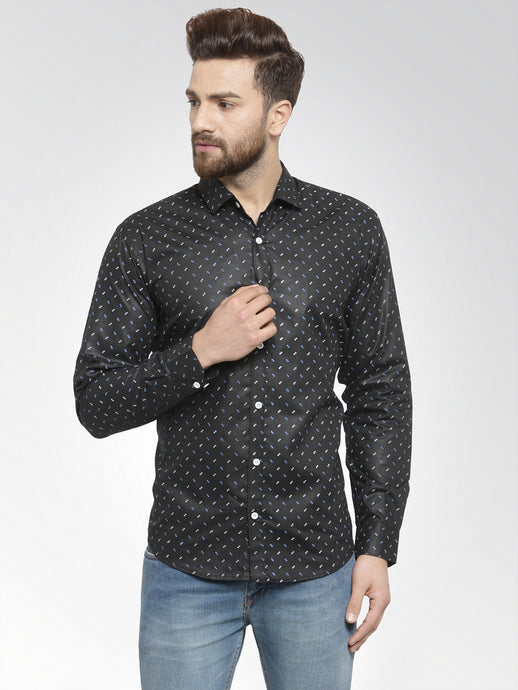 Jainish Men Black Classic Fit Printed Casual Shirt