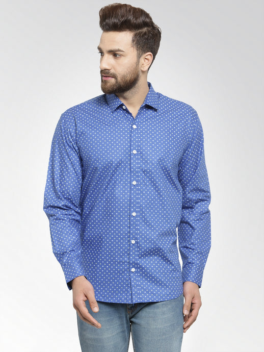 Jainish Men Blue Classic Fit Printed Casual Shirt