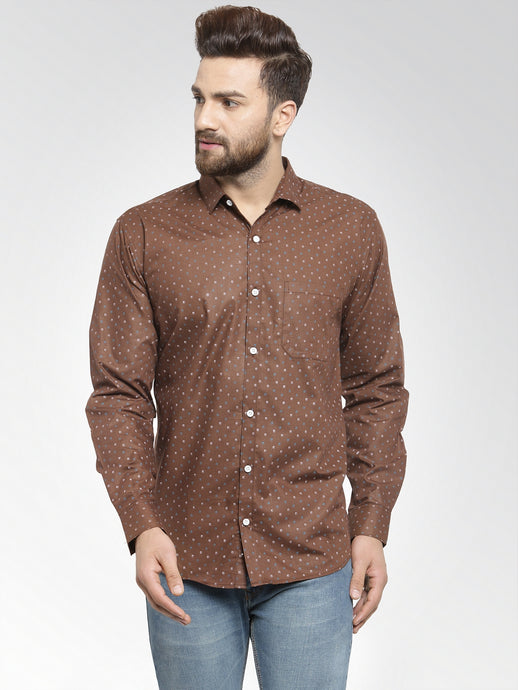 Jainish Men Brown Classic Fit Printed Casual Shirt