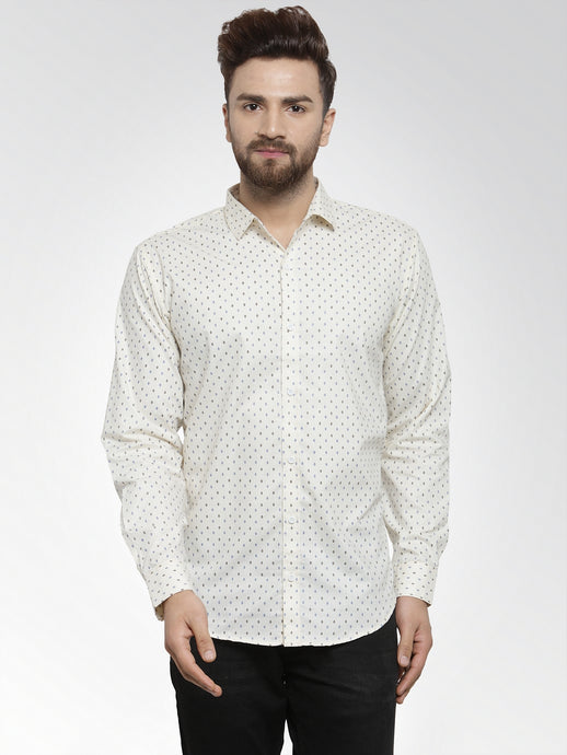 Jainish Men Cream Classic Fit Printed Casual Shirt