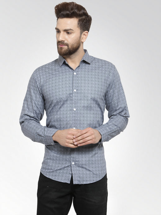 Jainish Men Grey Classic Fit Printed Casual Shirt
