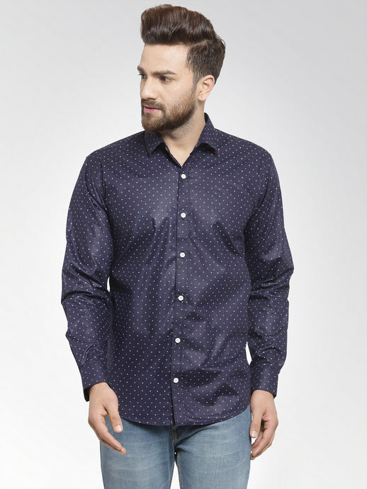 Jainish Men Navy-Blue Classic Fit Printed Casual Shirt