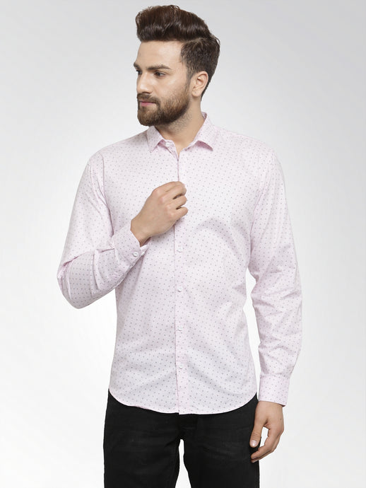Jainish Men Pink Classic Fit Printed Casual Shirt