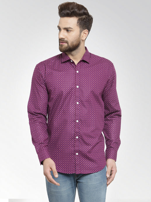 Jainish Men Purple Classic Fit Printed Casual Shirt