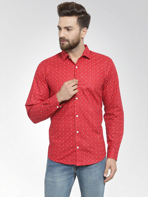 Jainish Men Red Classic Fit Printed Casual Shirt