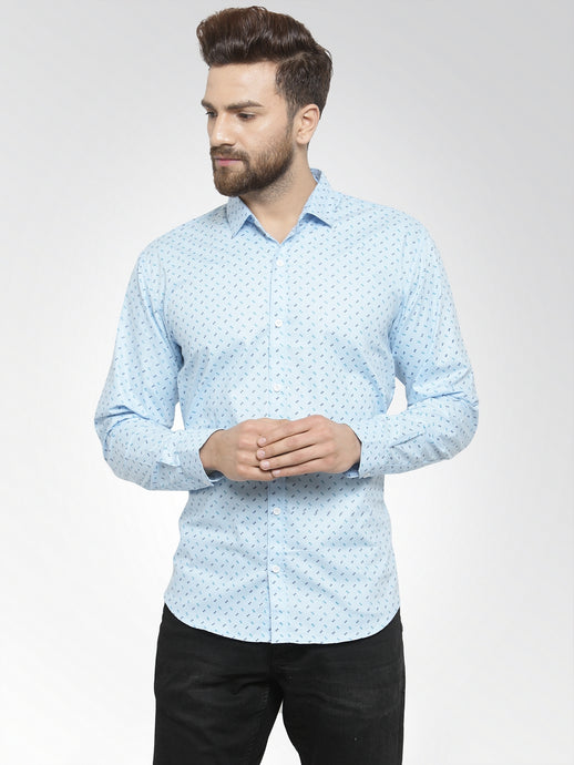 Jainish Men Sky-Blue Classic Fit Printed Casual Shirt