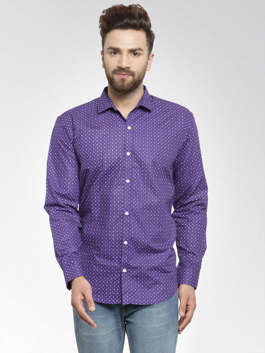 Jainish Men Violet Classic Fit Printed Casual Shirt