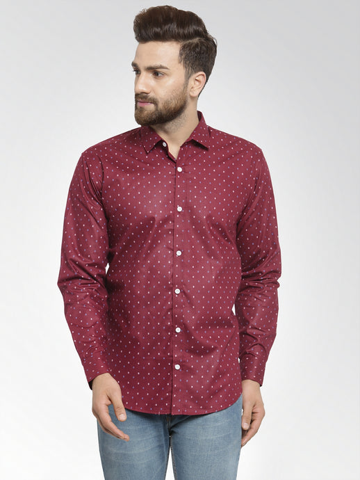 Jainish Men Wine Classic Fit Printed Casual Shirt
