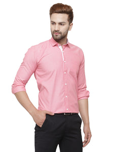Jainish Men Red Classic Fit Formal Shirt with White Placket Detailing