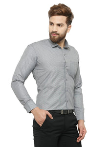 Jainish Men Grey Classic Fit Self Design Formal Shirt
