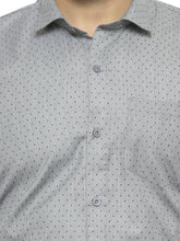 Load image into Gallery viewer, Jainish Men Grey Classic Fit Self Design Formal Shirt