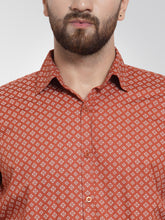 Load image into Gallery viewer, Jainish Men Orange Classic Fit Printed Formal Shirt