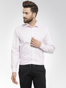 Jainish Men Pink Classic Fit Printed Formal Shirt