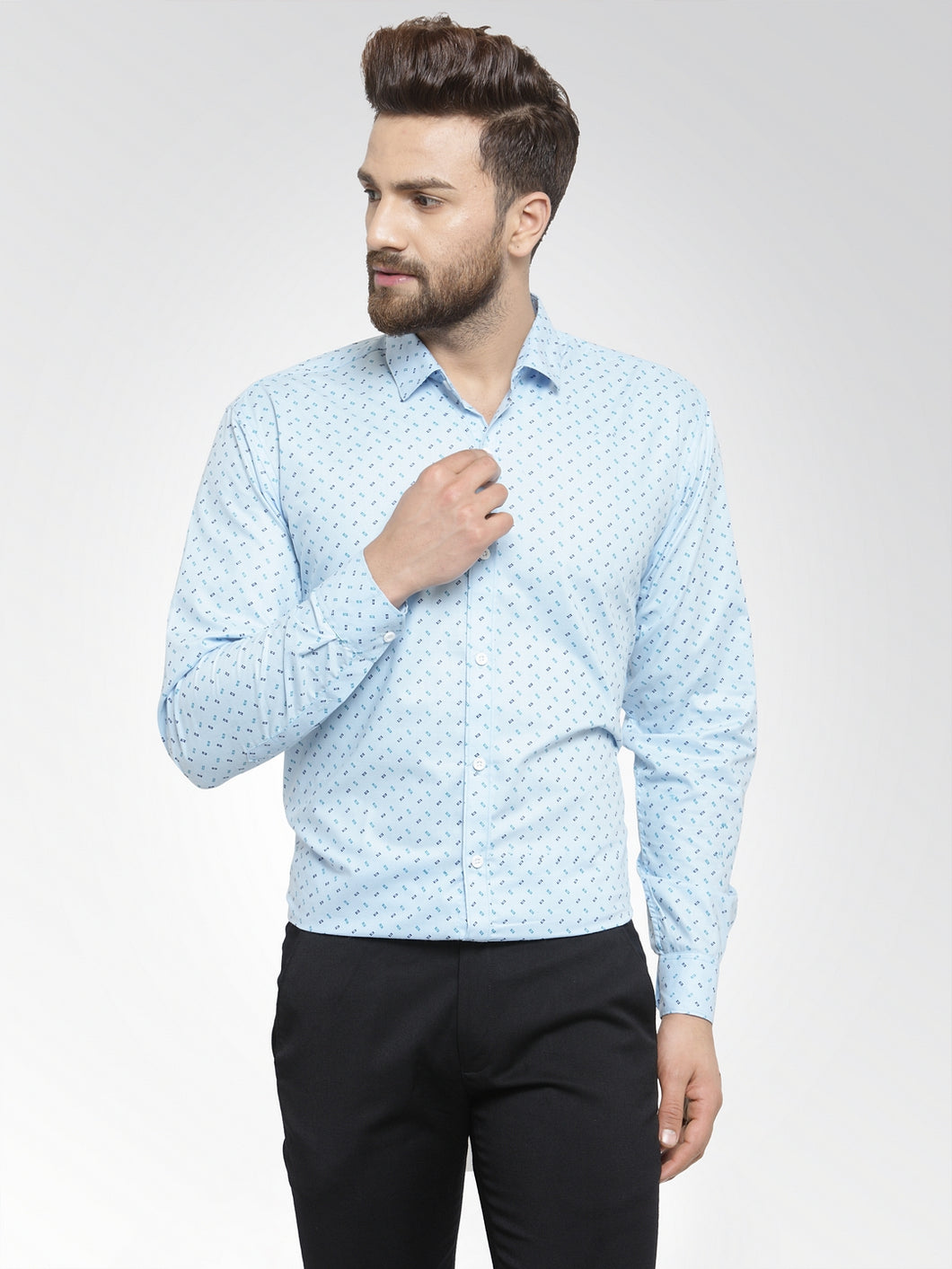 Jainish Men Sky-Blue Classic Fit Printed Formal Shirt