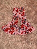 Pink Floral Ruffle Bell Pants