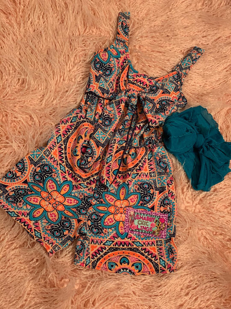 Multi color sleeveless romper