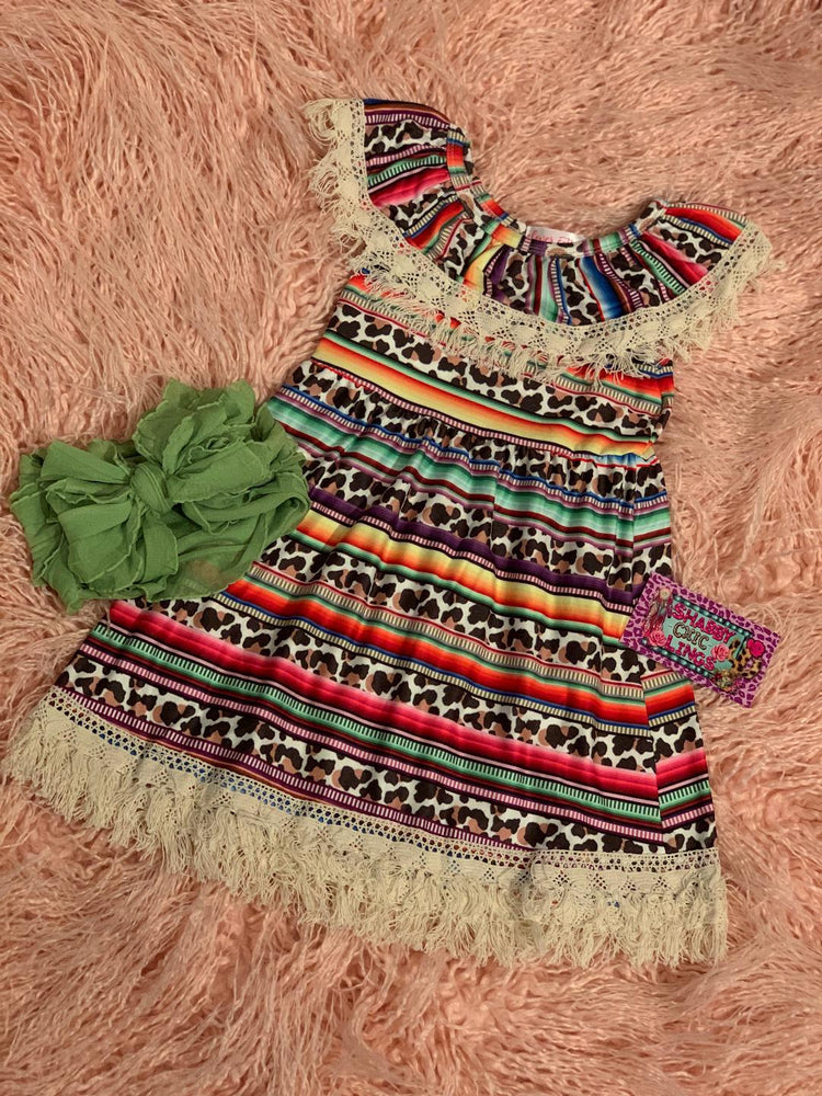Striped serape Cheetah Dress SISTER SET