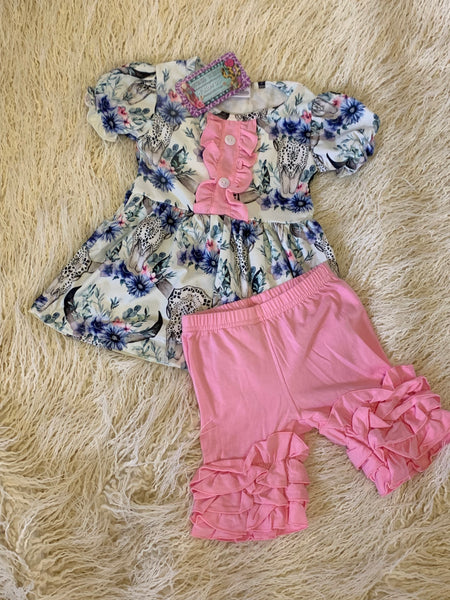 White Flare Top with Cow Skull & Pink Ruffle Shorts