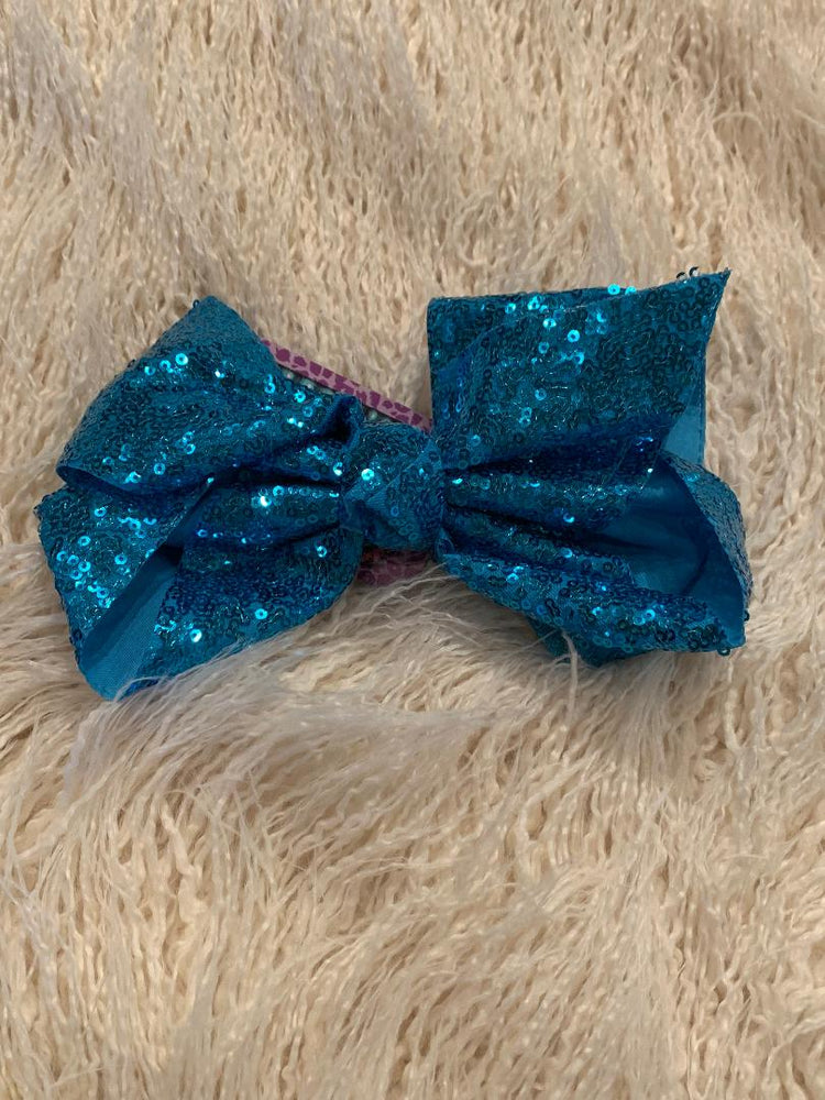 Turquoise Sequin Hair Bow